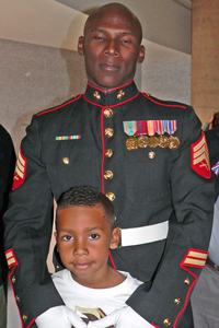 Marine Sgt. Shaka Greene and his son Shaka, Jr.