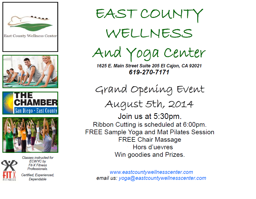 Join East County Magazine At Grand Opening Of East County Wellness Yoga Center August 5 East County Magazine