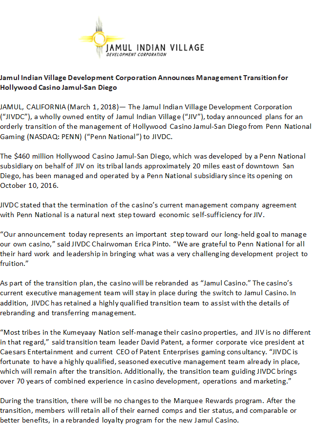 JAMUL CASINO ANNOUNCES NAME CHANGE AND SHIFT IN MANAGEMENT | East