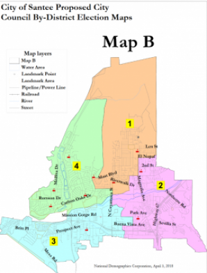 SANTEE ADOPTS DISTRICT ELECTIONS WITH MINTO-MADE MAP | East County ...