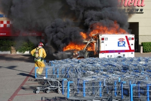 ambulance destroyed by fire at parkway plaza east county. Black Bedroom Furniture Sets. Home Design Ideas